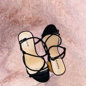 Black Faux Suede STRAPPY Woodgrain Block Heel